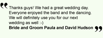Jellied Reels Ceilidh Barn Dance Band: Quotes  Thanks  guys! We had a great wedding day. Everyone enjoyed the band and the dancing bride and groom Paula and David Hudson